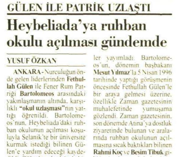 1 aralık 1996 gülen ile patrik uzlaştı