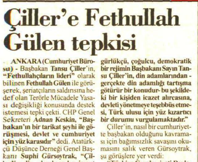 1994 13 aralık çiller gülen