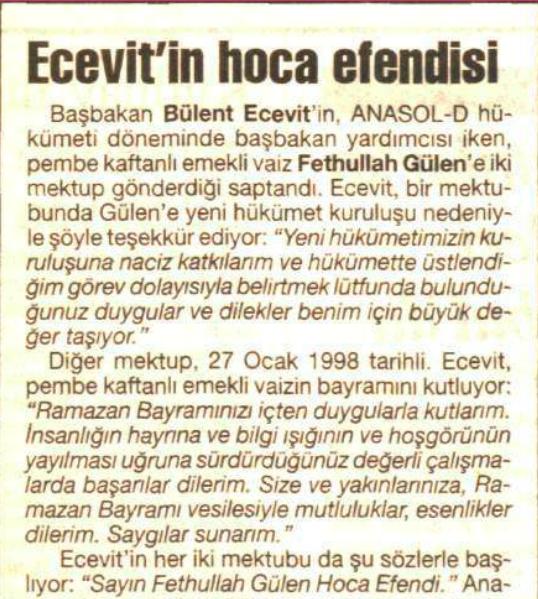 ecevitin hocası 26 haziran 1999