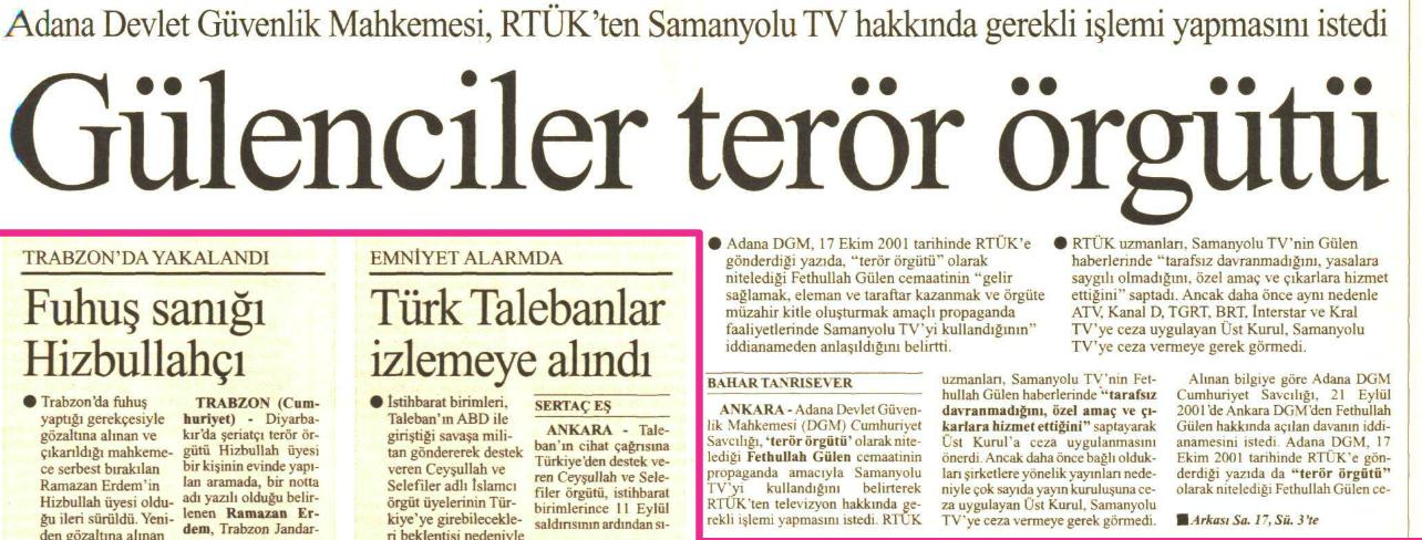 gülenci terör örgütü 22 şubat 2002