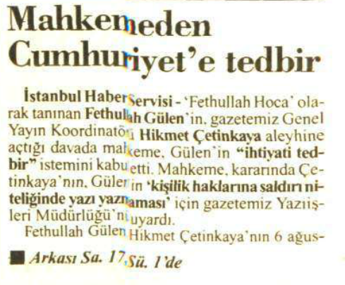 1994 10 kasım hikmet çetinkaya uyarıldı
