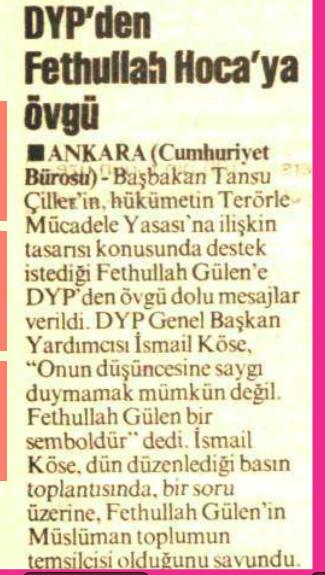 1994 17 aralık DYP - gülen