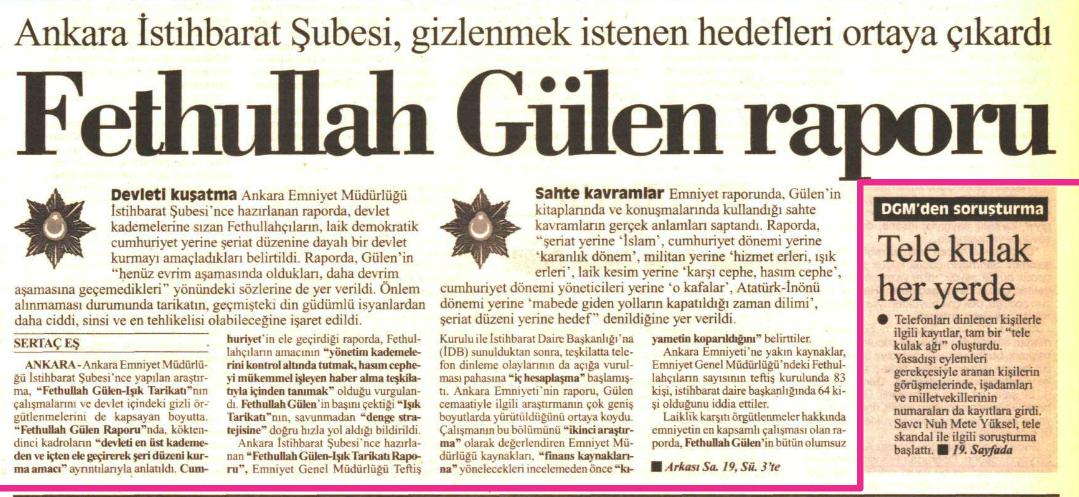 8 haziran 1999 fethullah gülen raporu