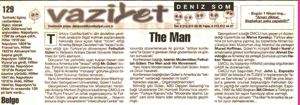 gülen abd konferans 1 nisan 2001