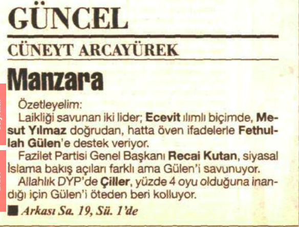 gülen devlet liderleri tarafından kollanıyor 24 haziran 1999