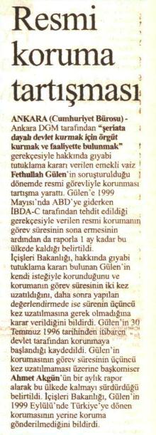 gülen'e koruma 25 ağustos 2000